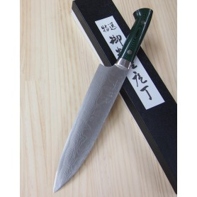 Japanese Chef Knife - Gyuto - TAKESHI SAJI - Damascus VG-10 Steel - Green Micarta Handle - Size: 18 / 21cm