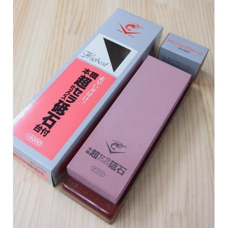 Whetstone knife sharpener (with plastic base and 600 grit adjustment stone) - 3.000 Grit - NANIWA CHOSERA