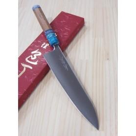 Faca japonesa do chef gyuto YOSHIHIRO -Série super blue steel cabo customizado- Tam:24cm