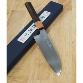 Faca japonesa santoku MIURA -Série Carbon white 2 cabo rosewood- Tam:18cm