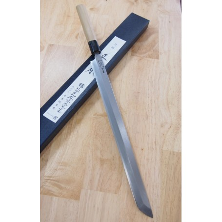 Japanese Sakimaru Takobiki Knife - MASAMOTO SOHONTEN - Hongasumi White Steel - Sizes: 33cm